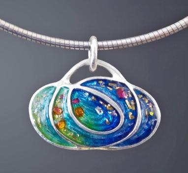 NEGSilas_Scribble pendant, metal clay and enamel